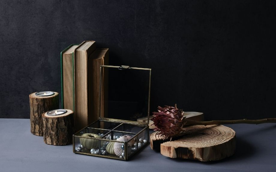 Candle holders, coaster, book ends, and other items made from repurposed trees.